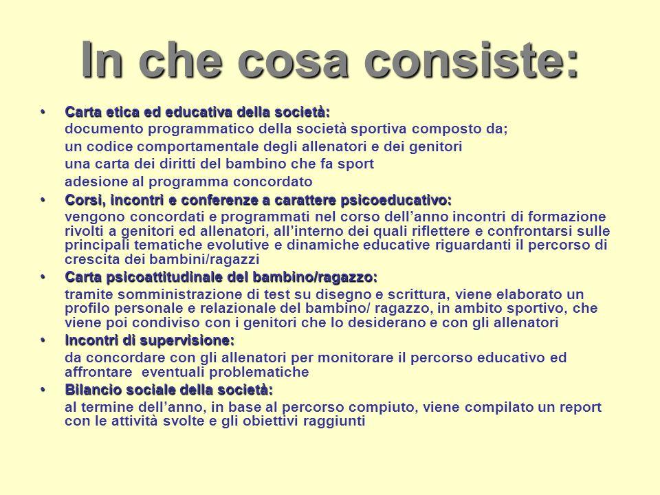 In che cosa consiste: Carta etica ed educativa della società: