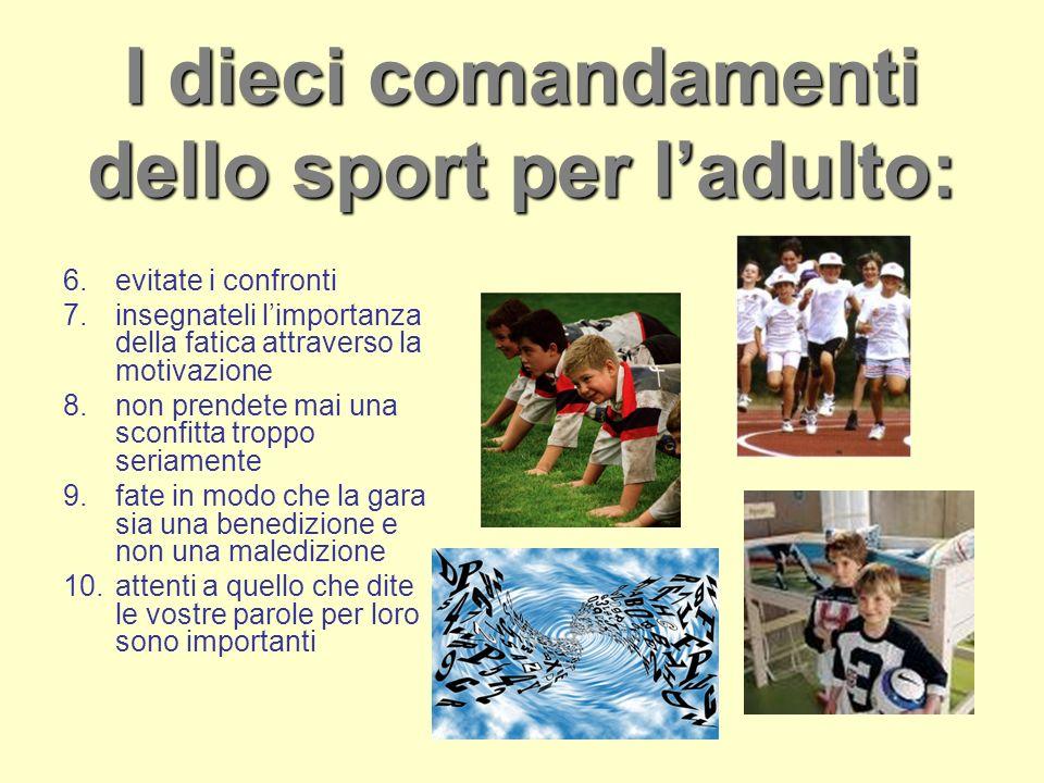 I dieci comandamenti dello sport per l'adulto: