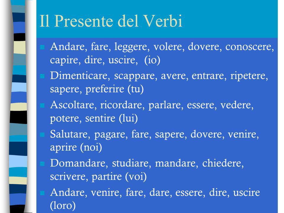 Il Presente del Verbi Andare, fare, leggere, volere, dovere, conoscere, capire, dire, uscire, (io)