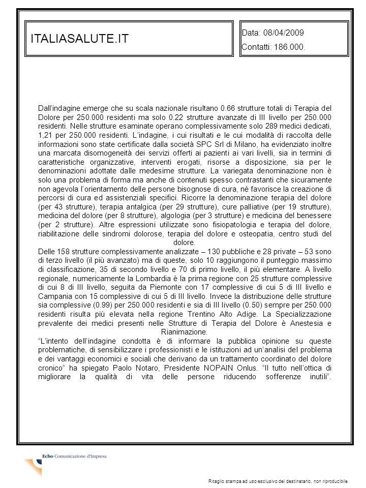 ITALIASALUTE.IT Data: 08/04/2009 Contatti: 186.000.