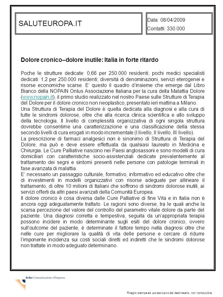 SALUTEUROPA.IT Dolore cronico–dolore inutile: Italia in forte ritardo