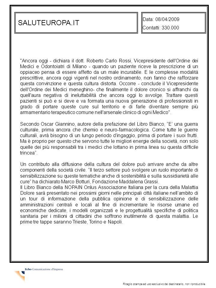 SALUTEUROPA.IT Data: 08/04/2009 Contatti: 330.000