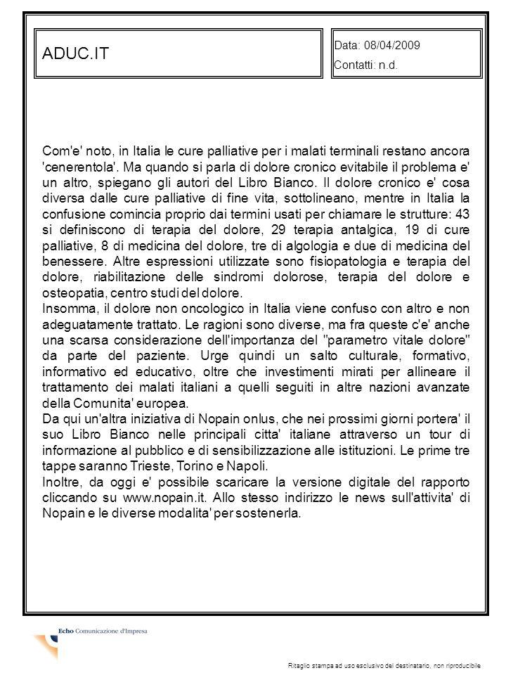 Data: 08/04/2009 Contatti: n.d. ADUC.IT.