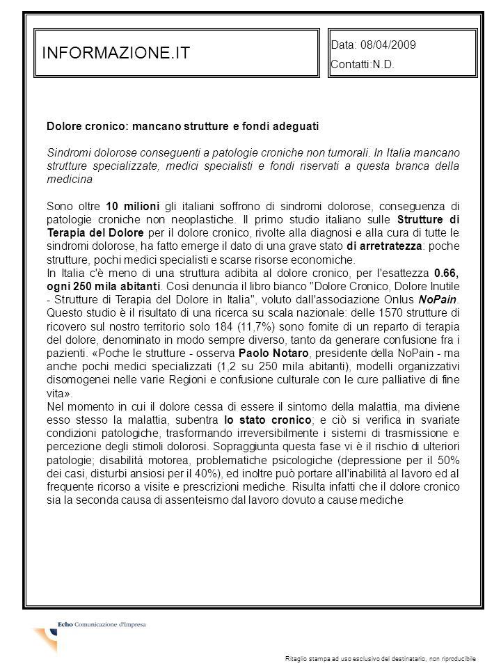 INFORMAZIONE.IT Data: 08/04/2009 Contatti:N.D.