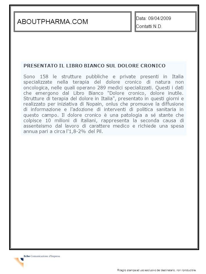 ABOUTPHARMA.COM PRESENTATO IL LIBRO BIANCO SUL DOLORE CRONICO
