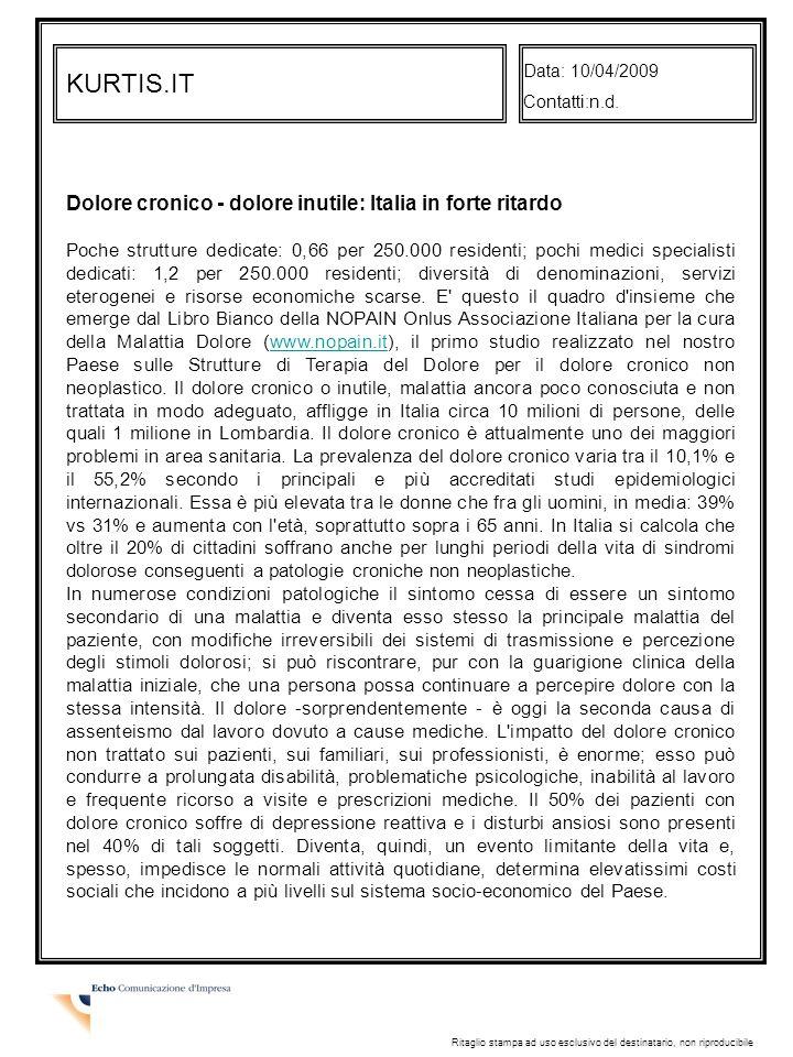 KURTIS.IT Dolore cronico - dolore inutile: Italia in forte ritardo
