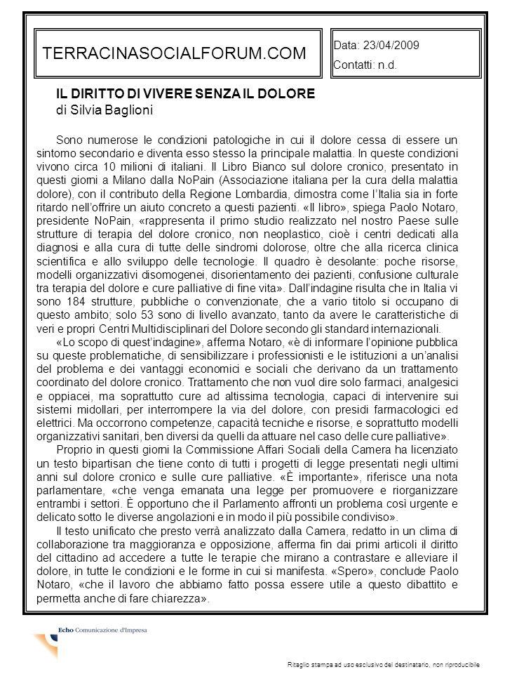 TERRACINASOCIALFORUM.COM IL DIRITTO DI VIVERE SENZA IL DOLORE
