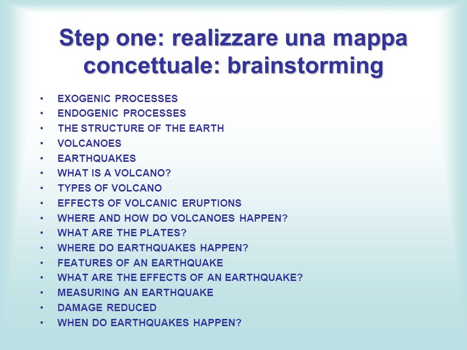 Step one: realizzare una mappa concettuale: brainstorming
