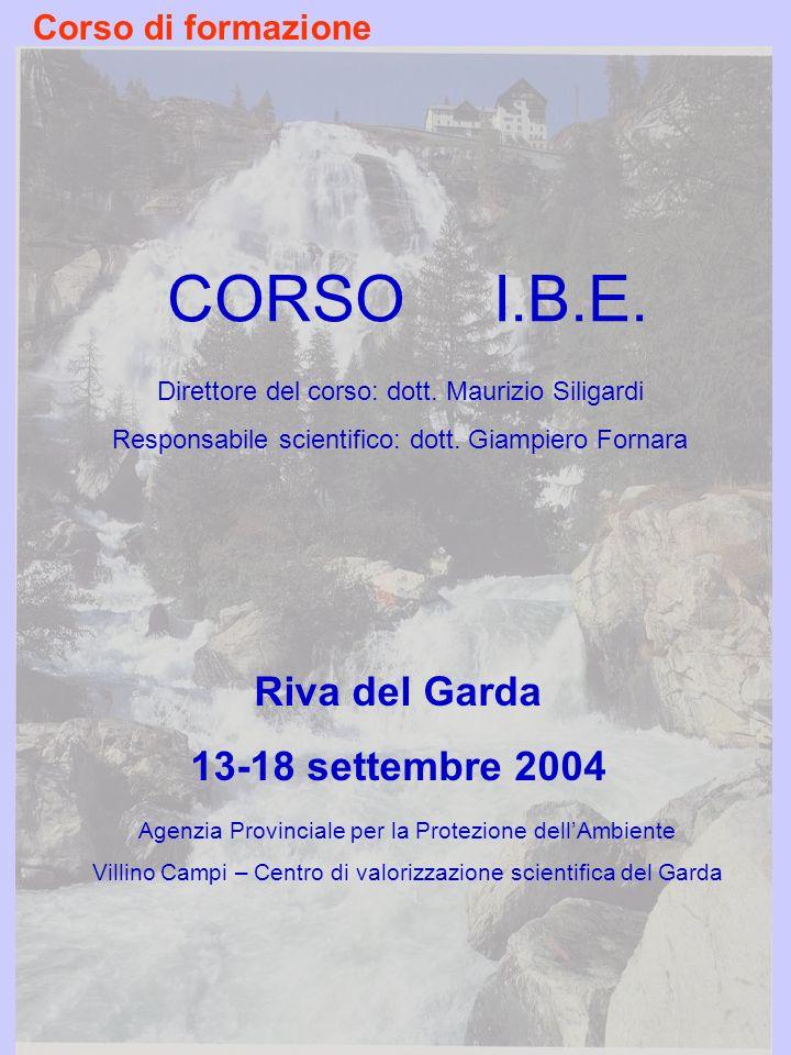 CORSO I.B.E. Riva del Garda 13-18 settembre 2004 Corso di formazione