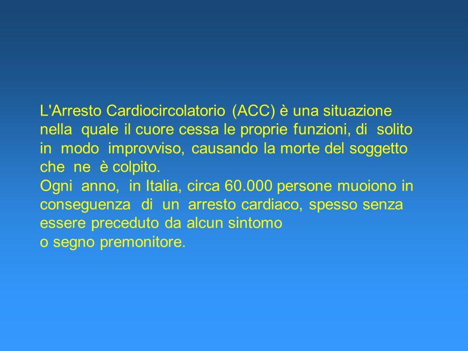 L Arresto Cardiocircolatorio (ACC) è una situazione nella quale il cuore cessa le proprie funzioni, di solito in modo improvviso, causando la morte del soggetto che ne è colpito.