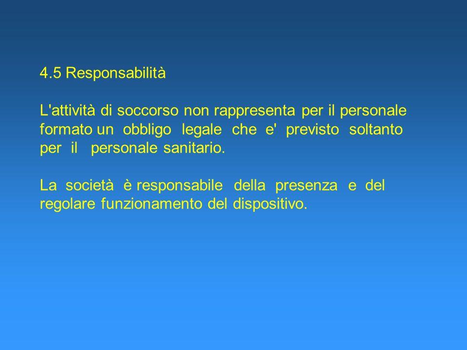 4.5 Responsabilità L attività di soccorso non rappresenta per il personale formato un obbligo legale che e previsto soltanto per il personale sanitario.