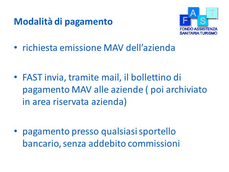 Modalità di pagamento richiesta emissione MAV dell'azienda.