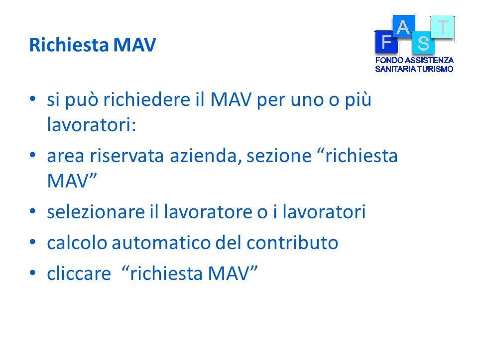 Richiesta MAV si può richiedere il MAV per uno o più lavoratori: area riservata azienda, sezione richiesta MAV