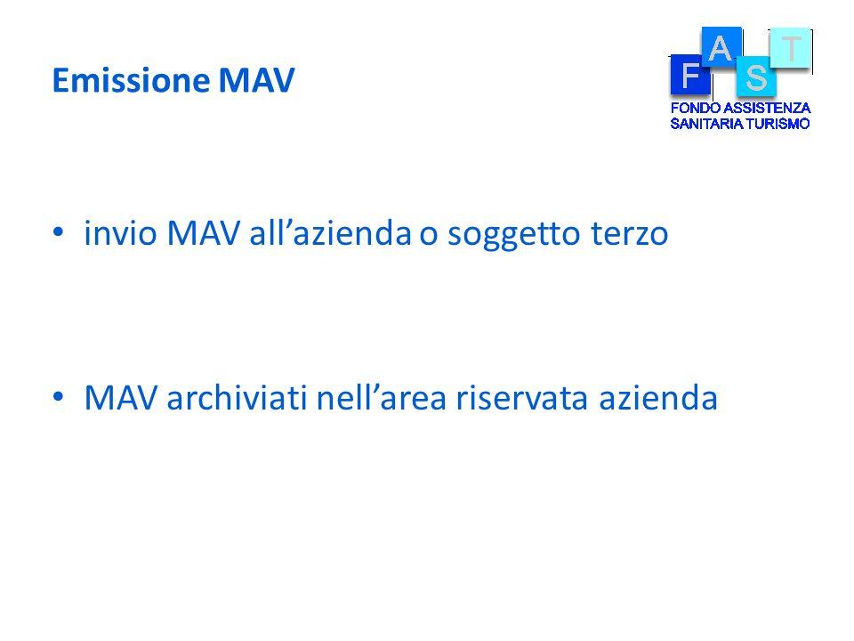 Emissione MAV invio MAV all'azienda o soggetto terzo MAV archiviati nell'area riservata azienda