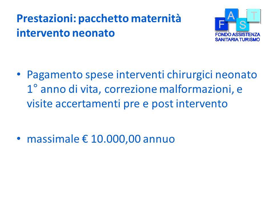 Prestazioni: pacchetto maternità intervento neonato