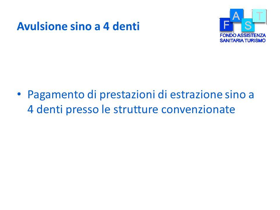 Avulsione sino a 4 denti Pagamento di prestazioni di estrazione sino a 4 denti presso le strutture convenzionate.
