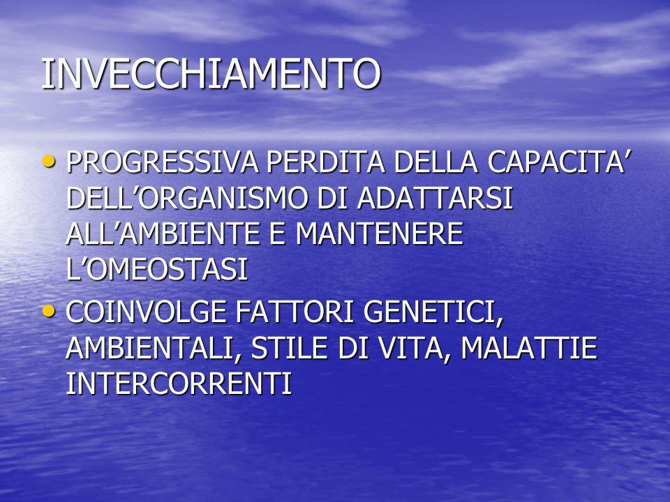 INVECCHIAMENTO PROGRESSIVA PERDITA DELLA CAPACITA' DELL'ORGANISMO DI ADATTARSI ALL'AMBIENTE E MANTENERE L'OMEOSTASI.