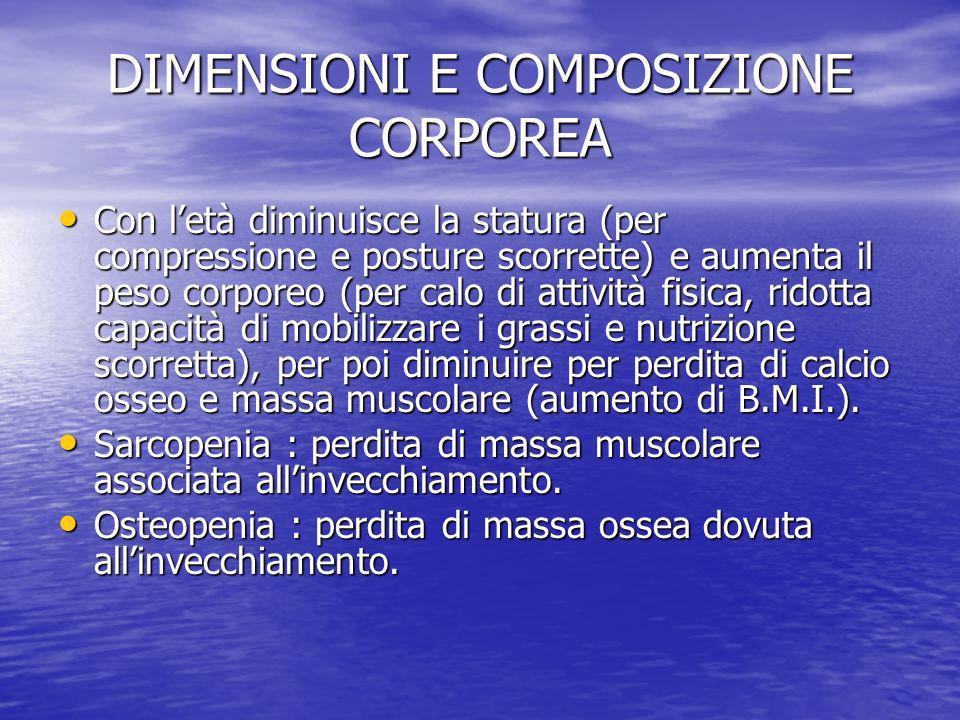 DIMENSIONI E COMPOSIZIONE CORPOREA