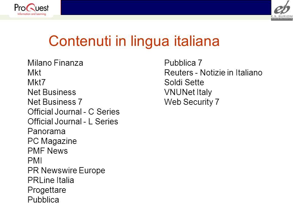 Contenuti in lingua italiana