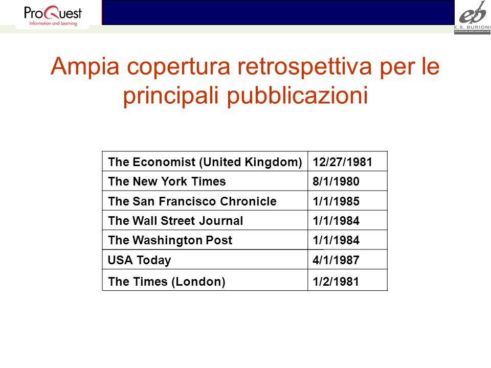 Ampia copertura retrospettiva per le principali pubblicazioni