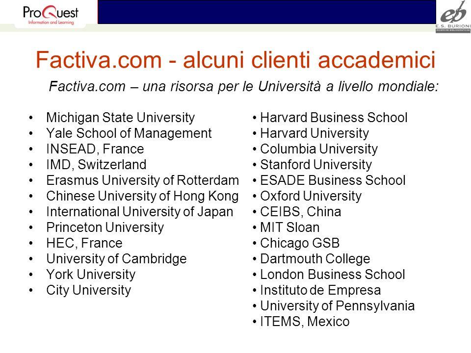 Factiva.com - alcuni clienti accademici