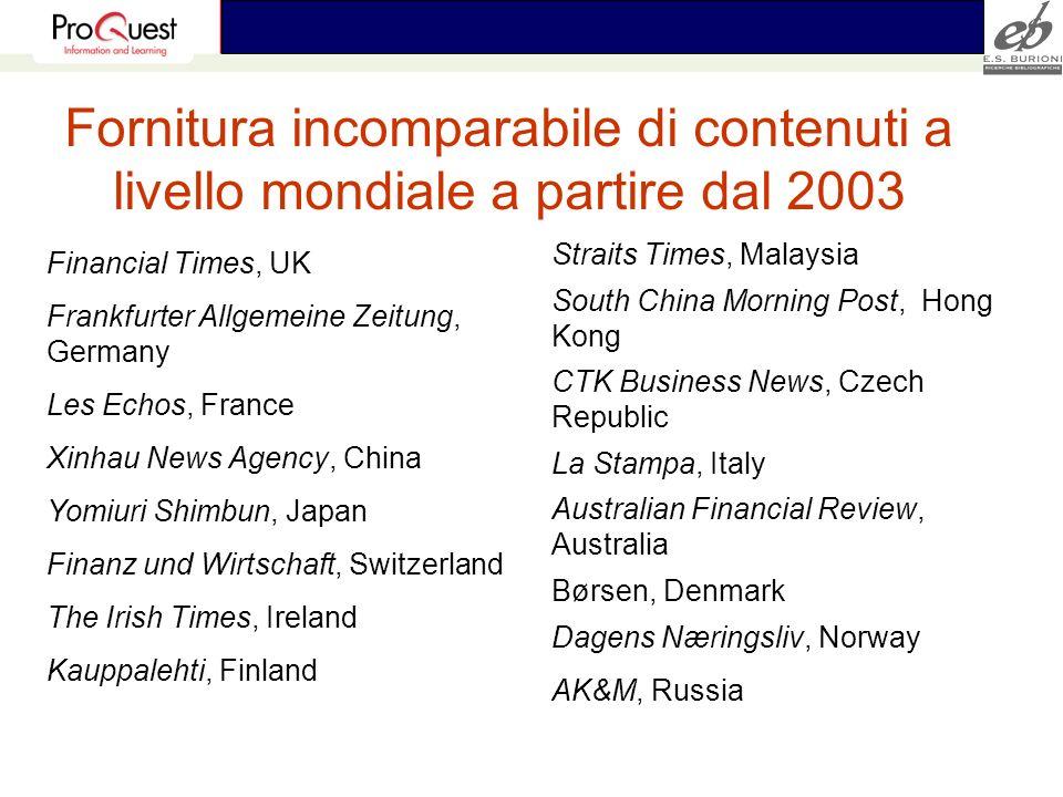 Fornitura incomparabile di contenuti a livello mondiale a partire dal 2003