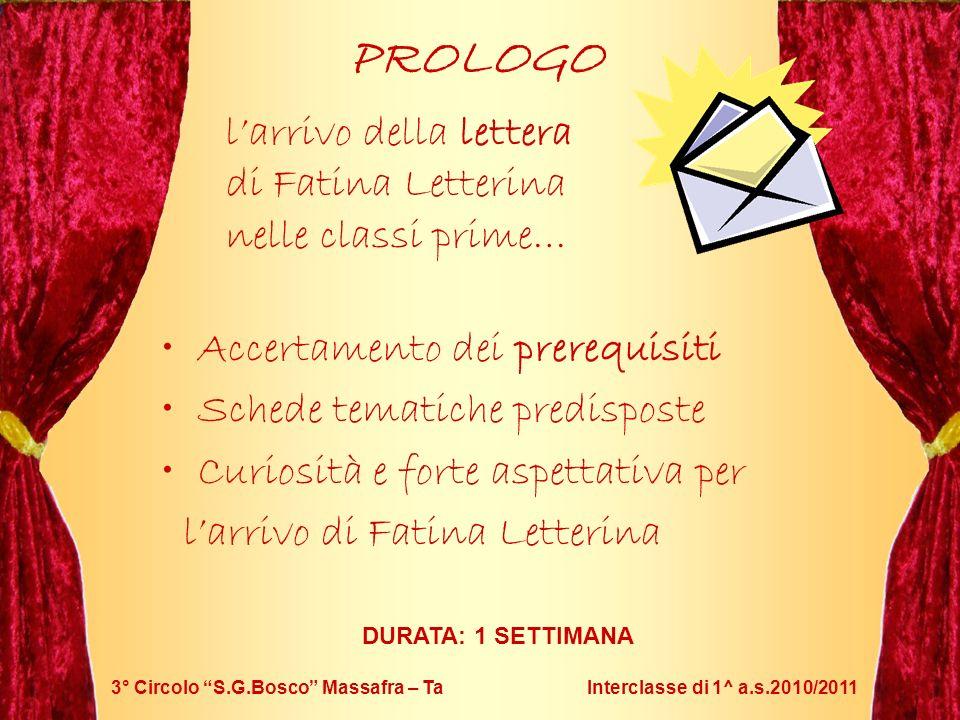 PROLOGO l'arrivo della lettera di Fatina Letterina nelle classi prime…