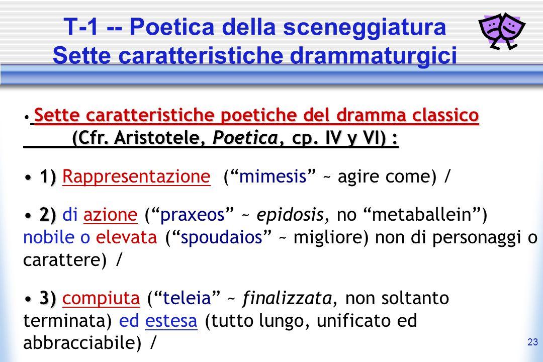 T-1 -- Poetica della sceneggiatura Sette caratteristiche drammaturgici