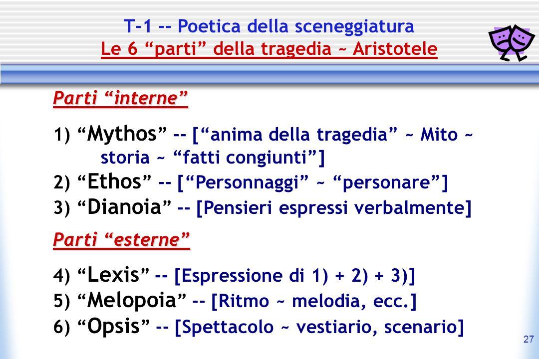 T-1 -- Poetica della sceneggiatura Le 6 parti della tragedia ~ Aristotele