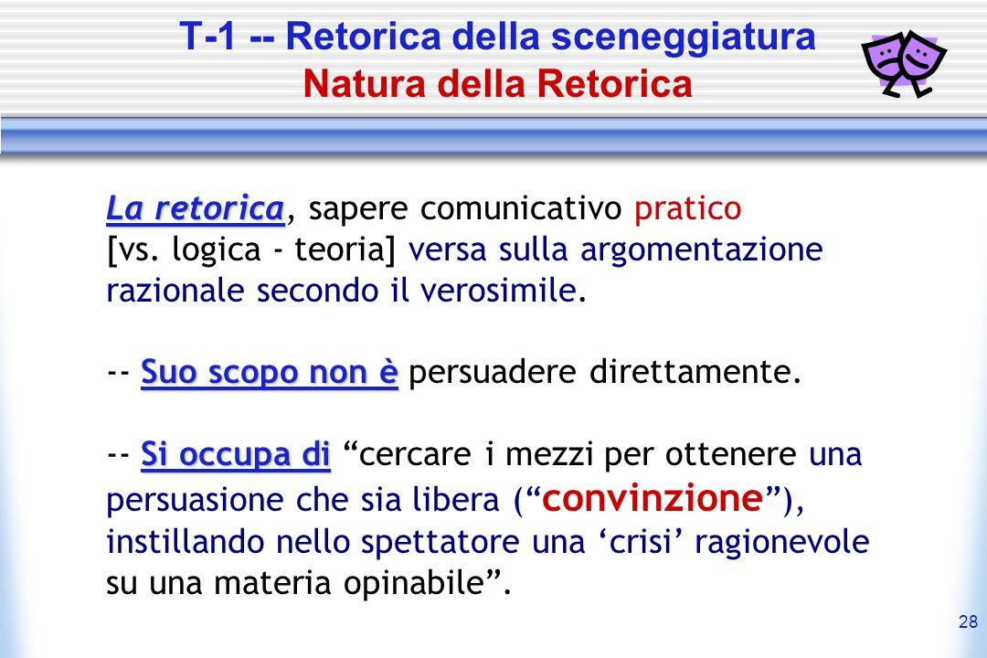 T-1 -- Retorica della sceneggiatura Natura della Retorica