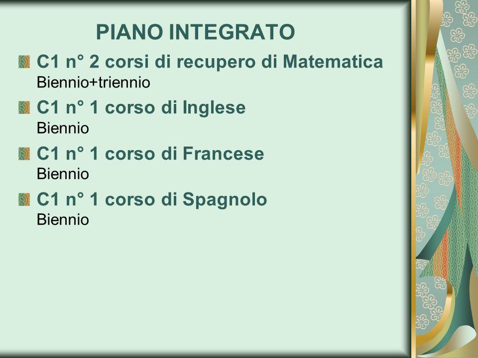 PIANO INTEGRATO C1 n° 2 corsi di recupero di Matematica Biennio+triennio. C1 n° 1 corso di Inglese Biennio.
