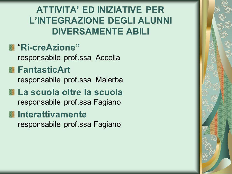 ATTIVITA' ED INIZIATIVE PER L'INTEGRAZIONE DEGLI ALUNNI DIVERSAMENTE ABILI