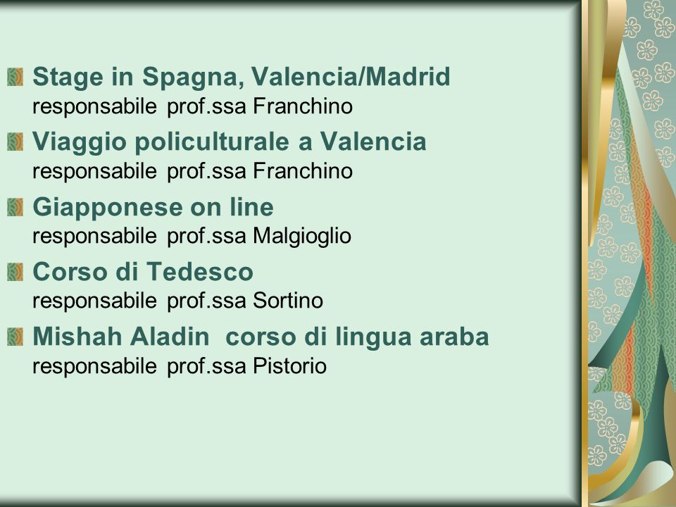 Stage in Spagna, Valencia/Madrid responsabile prof.ssa Franchino