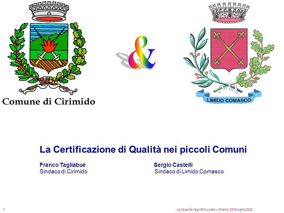 & La Certificazione di Qualità nei piccoli Comuni