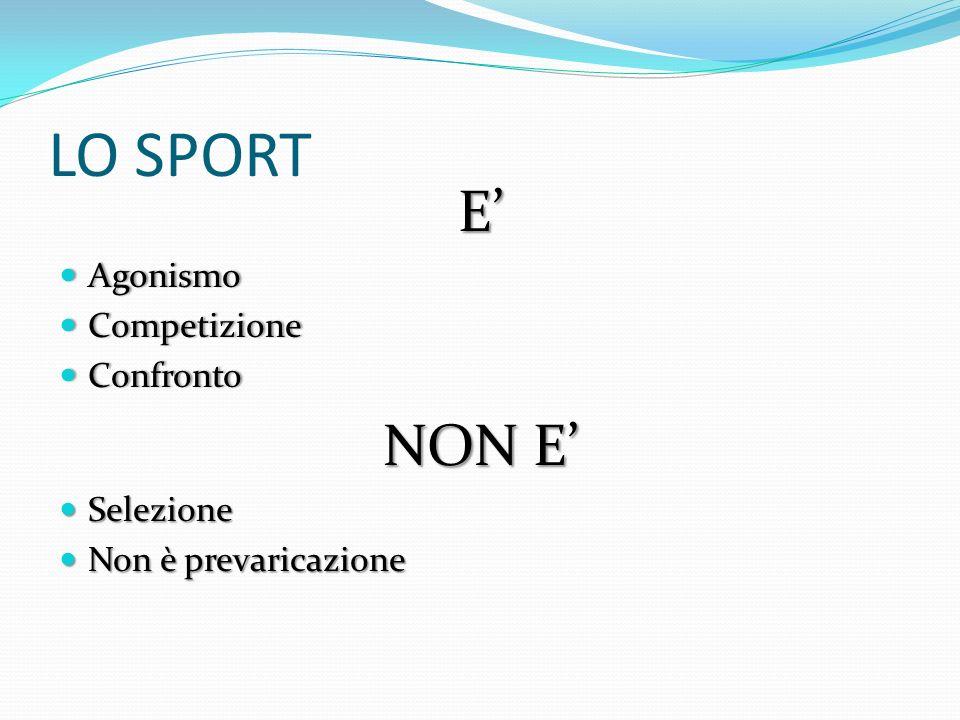 LO SPORT E' NON E' Agonismo Competizione Confronto Selezione