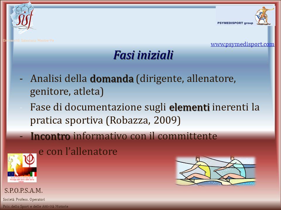 www.psymedisport.com Università Salesiana Mestre-Ve. Fasi iniziali. - Analisi della domanda (dirigente, allenatore, genitore, atleta)