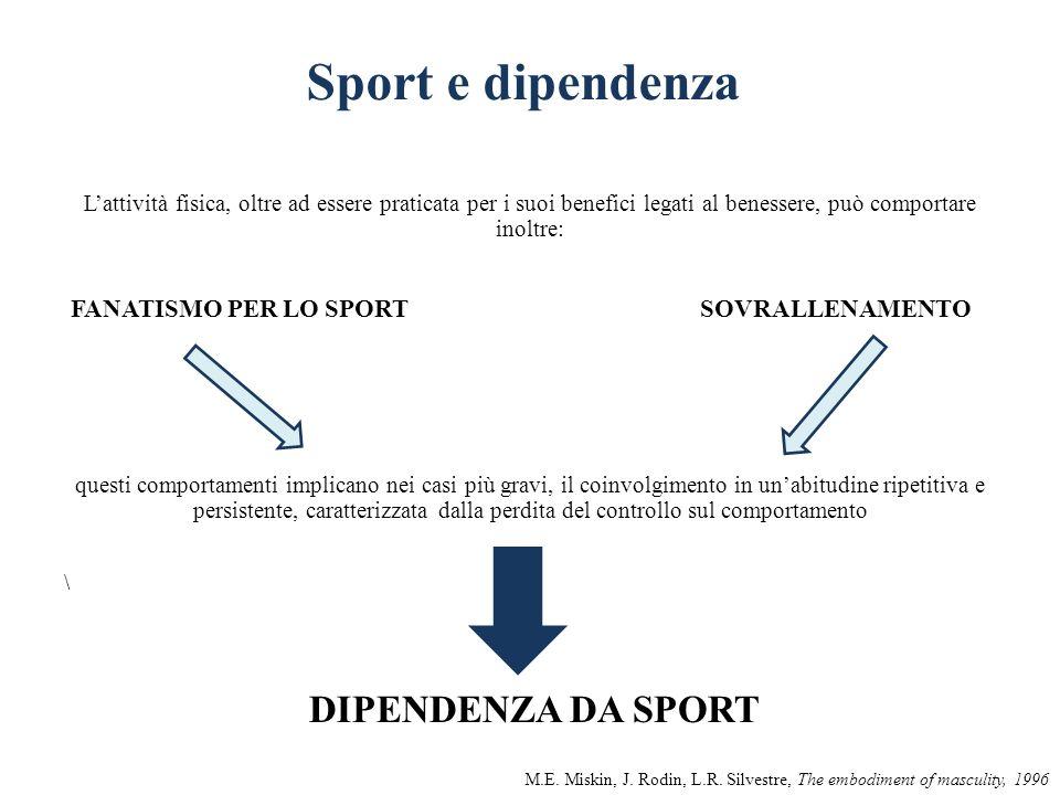 Sport e dipendenza FANATISMO PER LO SPORT SOVRALLENAMENTO