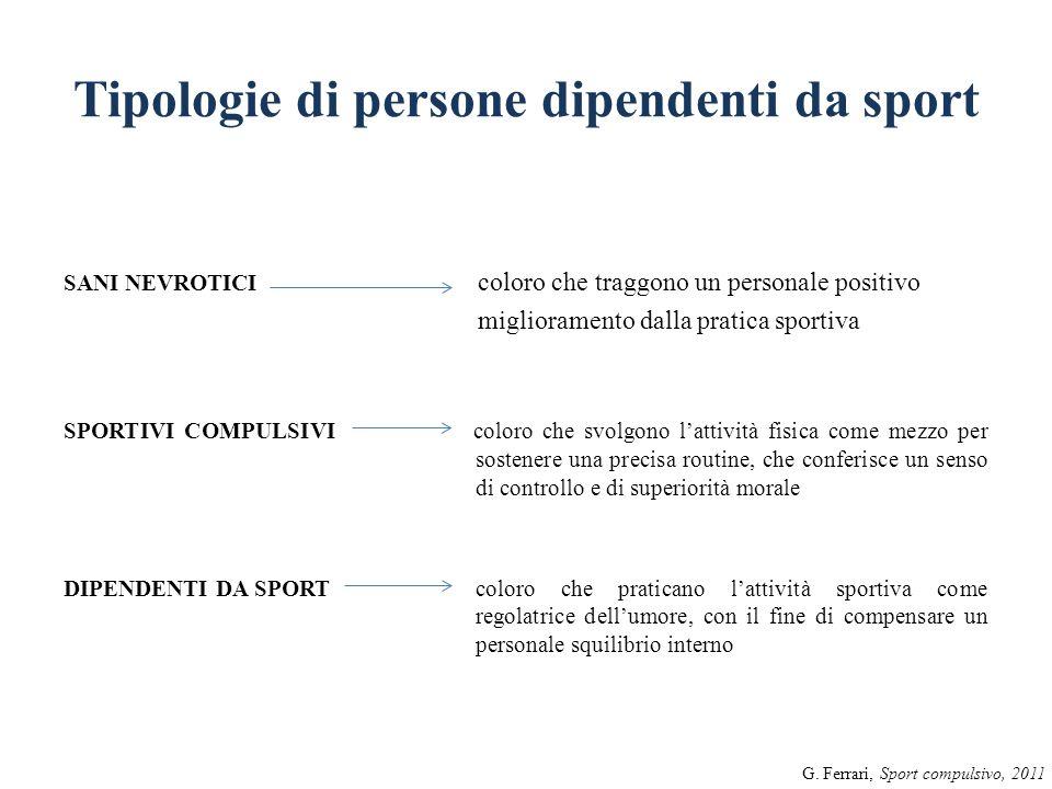 Tipologie di persone dipendenti da sport