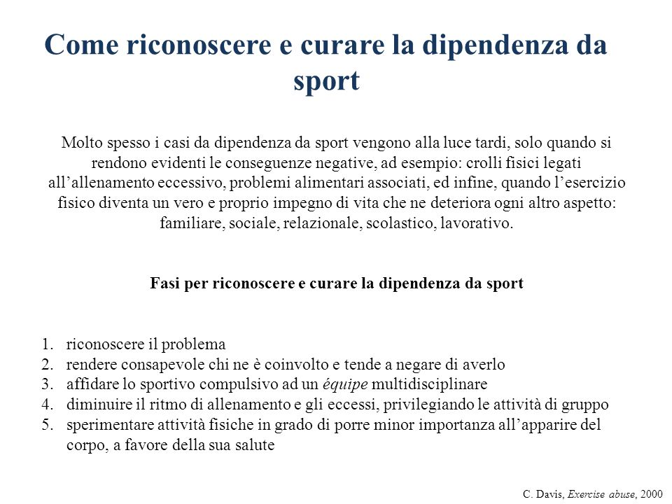Come riconoscere e curare la dipendenza da sport