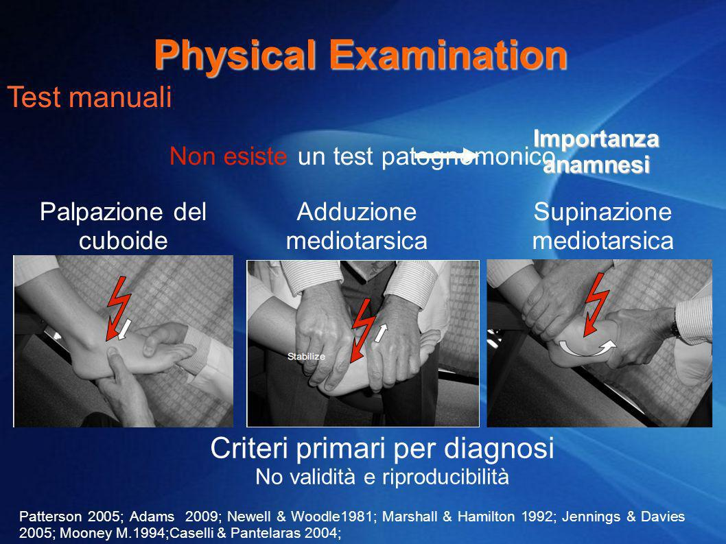 Physical Examination Test manuali Criteri primari per diagnosi