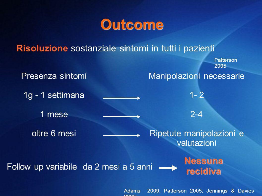 Outcome Risoluzione sostanziale sintomi in tutti i pazienti