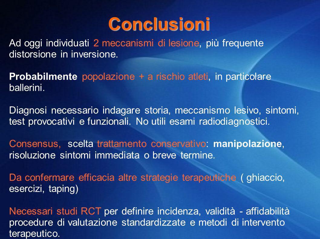 Conclusioni Ad oggi individuati 2 meccanismi di lesione, più frequente distorsione in inversione.
