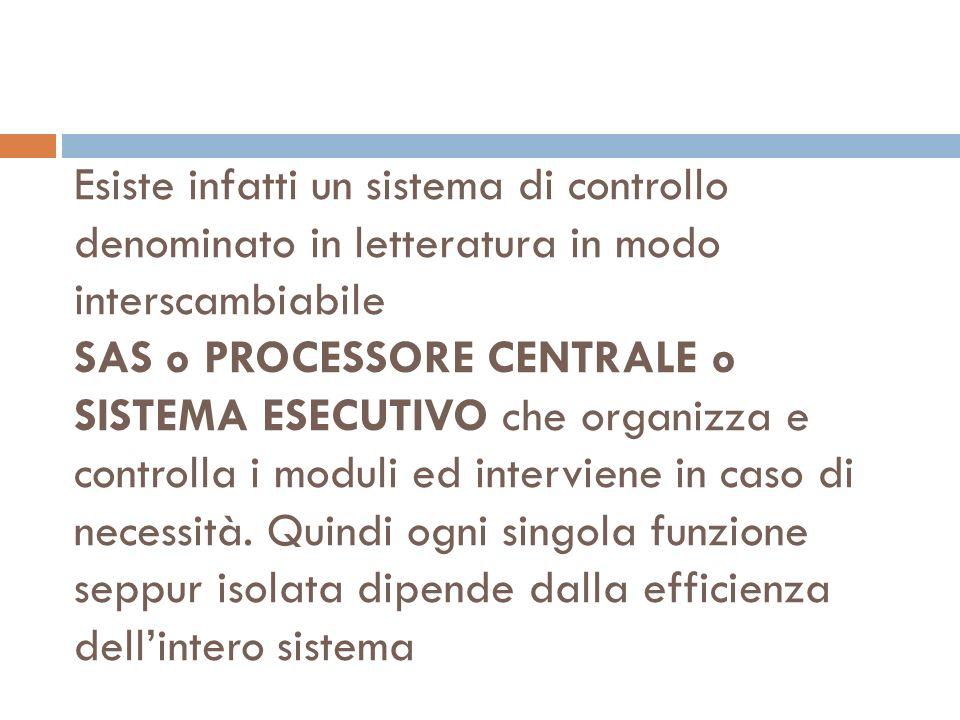 Esiste infatti un sistema di controllo denominato in letteratura in modo interscambiabile SAS o PROCESSORE CENTRALE o SISTEMA ESECUTIVO che organizza e controlla i moduli ed interviene in caso di necessità.