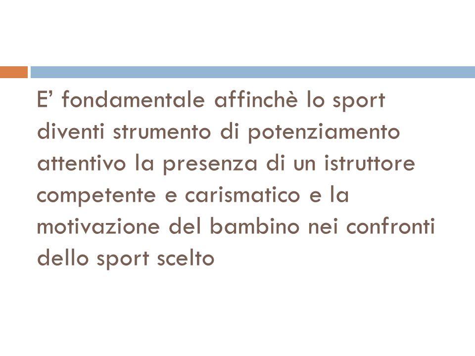 E' fondamentale affinchè lo sport diventi strumento di potenziamento attentivo la presenza di un istruttore competente e carismatico e la motivazione del bambino nei confronti dello sport scelto