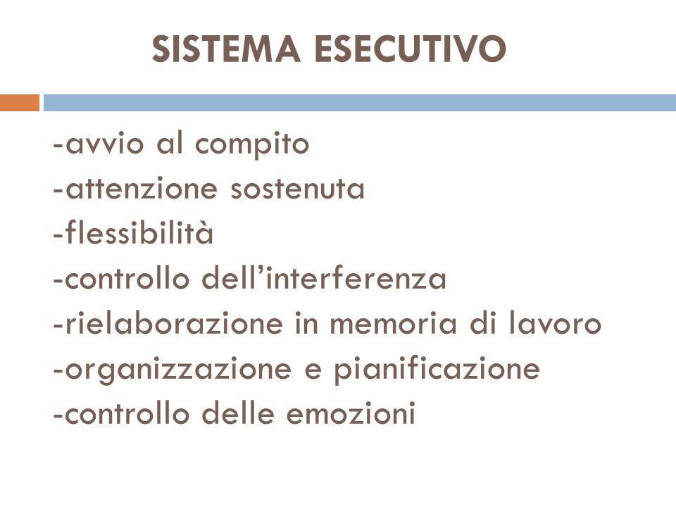 SISTEMA ESECUTIVO -avvio al compito -attenzione sostenuta -flessibilità -controllo dell'interferenza -rielaborazione in memoria di lavoro -organizzazione e pianificazione -controllo delle emozioni