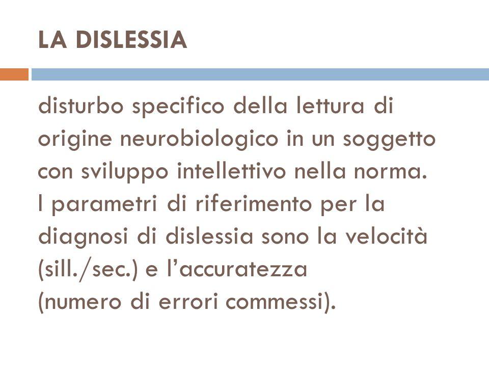 LA DISLESSIA disturbo specifico della lettura di origine neurobiologico in un soggetto con sviluppo intellettivo nella norma.
