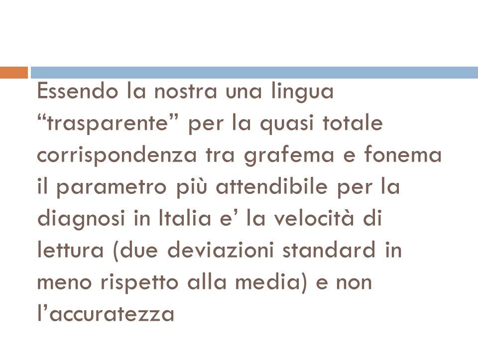 Essendo la nostra una lingua trasparente per la quasi totale corrispondenza tra grafema e fonema il parametro più attendibile per la diagnosi in Italia e' la velocità di lettura (due deviazioni standard in meno rispetto alla media) e non l'accuratezza