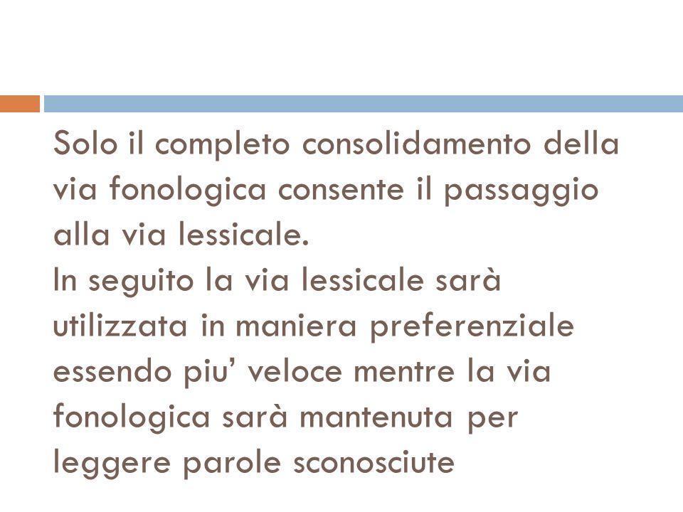 Solo il completo consolidamento della via fonologica consente il passaggio alla via lessicale.
