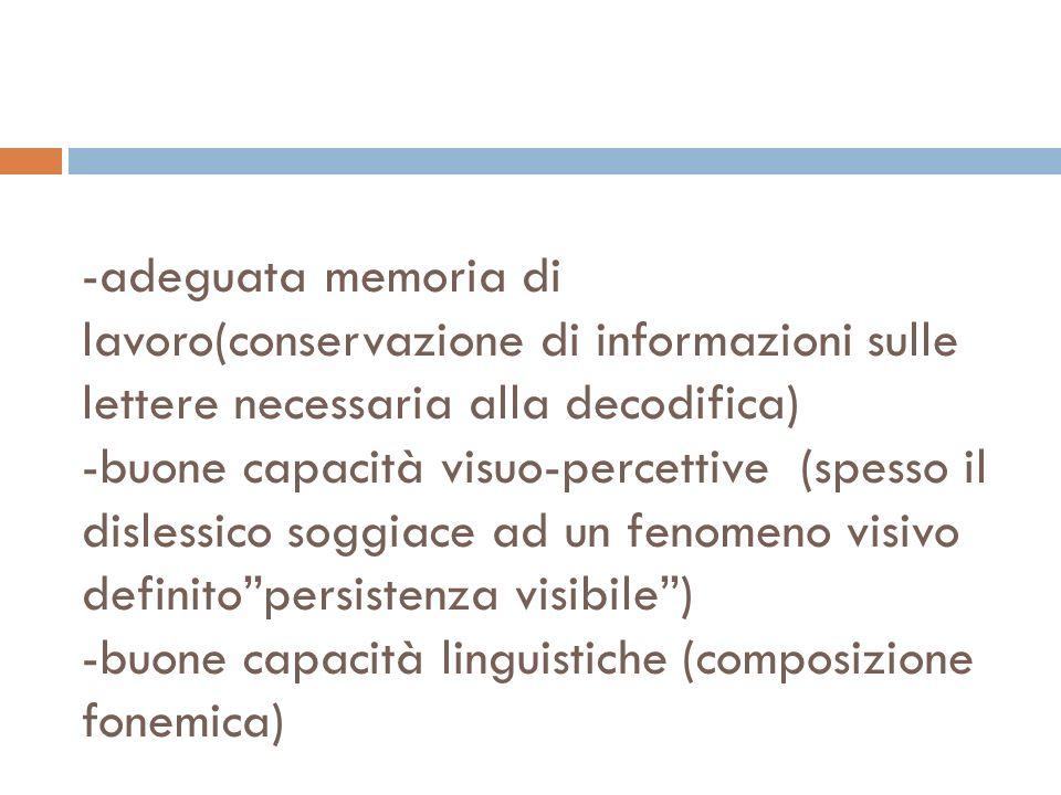 -adeguata memoria di lavoro(conservazione di informazioni sulle lettere necessaria alla decodifica) -buone capacità visuo-percettive (spesso il dislessico soggiace ad un fenomeno visivo definito persistenza visibile ) -buone capacità linguistiche (composizione fonemica)