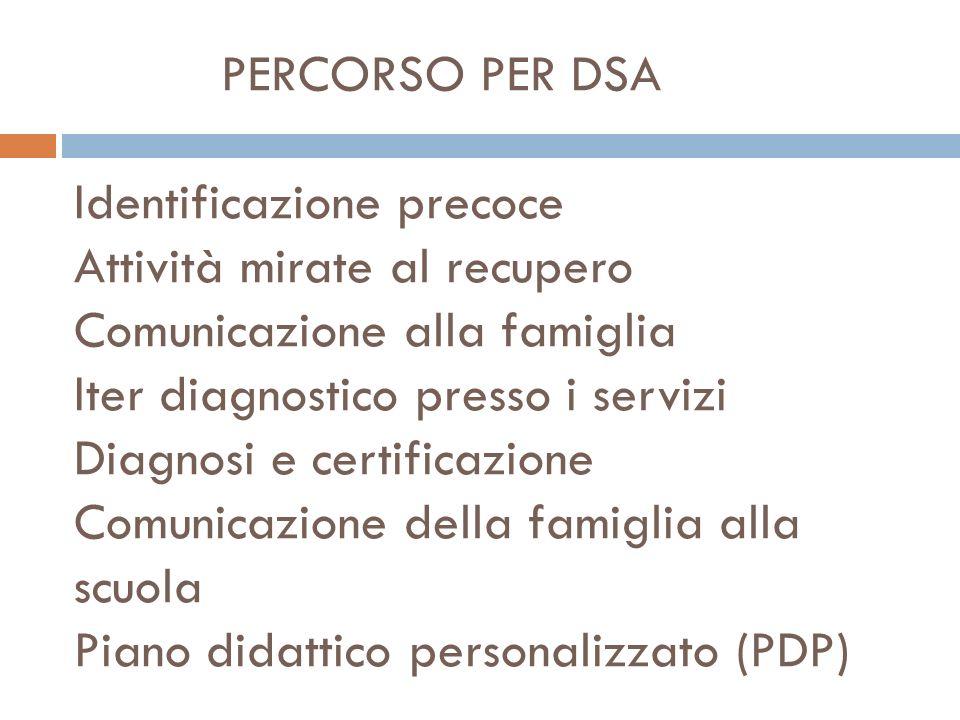 PERCORSO PER DSA Identificazione precoce Attività mirate al recupero Comunicazione alla famiglia Iter diagnostico presso i servizi Diagnosi e certificazione Comunicazione della famiglia alla scuola Piano didattico personalizzato (PDP)